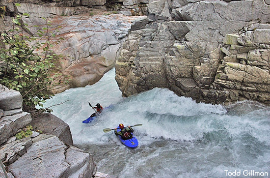 bryan smith and andrew oberhardt at bottom of corner rapid on ashlu river