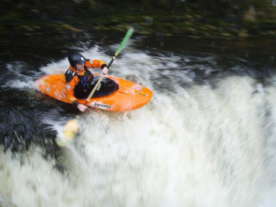 Paul Greenwood running the main drop on the Middle Tawe