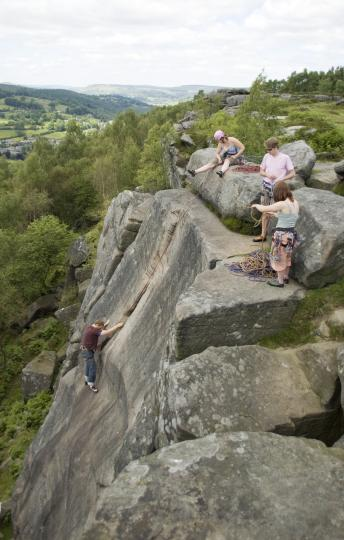 The Team (Plus my wife) in action at Froggatt Edge