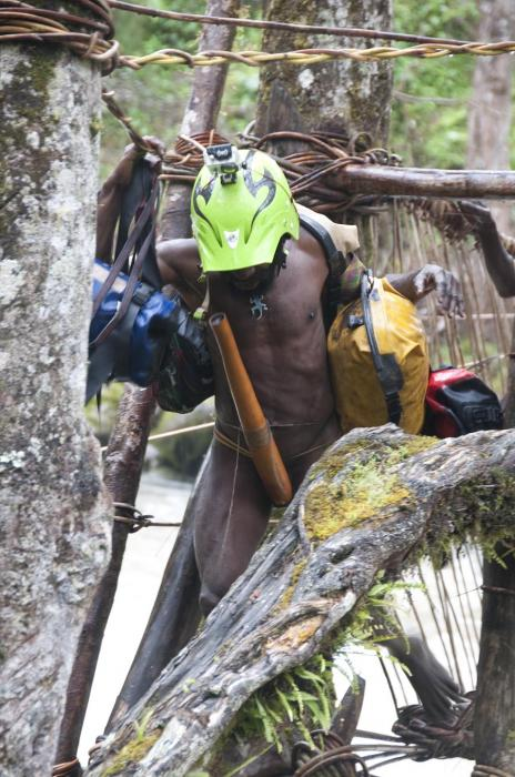 A traditionally dressed papuan helping us carry some of our equipment - most people we met were incredibly helpful and friendly. Unfortunately a minority really screwed us over.