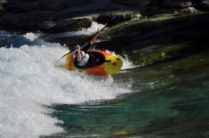 Learning to paddle a freestyle boat again is a pretty easy undertaking when this wave is only 1 of 2 new features minutes upstream from my caravan!