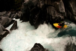 Dropping into the intimidating Morgan's Gorge on the Waitaha River