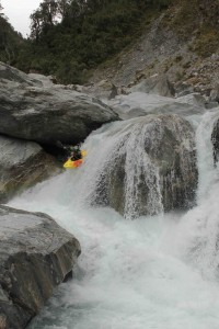 "Dropping in to ""Trent's Trench"" during the first descent of the Upper Whataroa River"