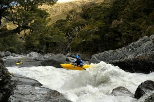 Willz Martin launches on one of the last rapids of day 1 in the East Branch.