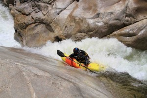 Dropping into a crack on the East Fork.