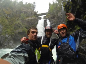 Todd Wells, myself and Eric Parker stoked to have caught a primo level on a super primo waterfall. POV: TW
