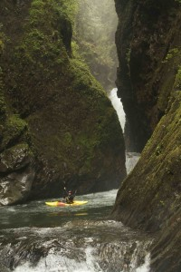 Committed! Enjoying a calm patch below the 50 footer and the slot gorge. Photo: Todd Wells