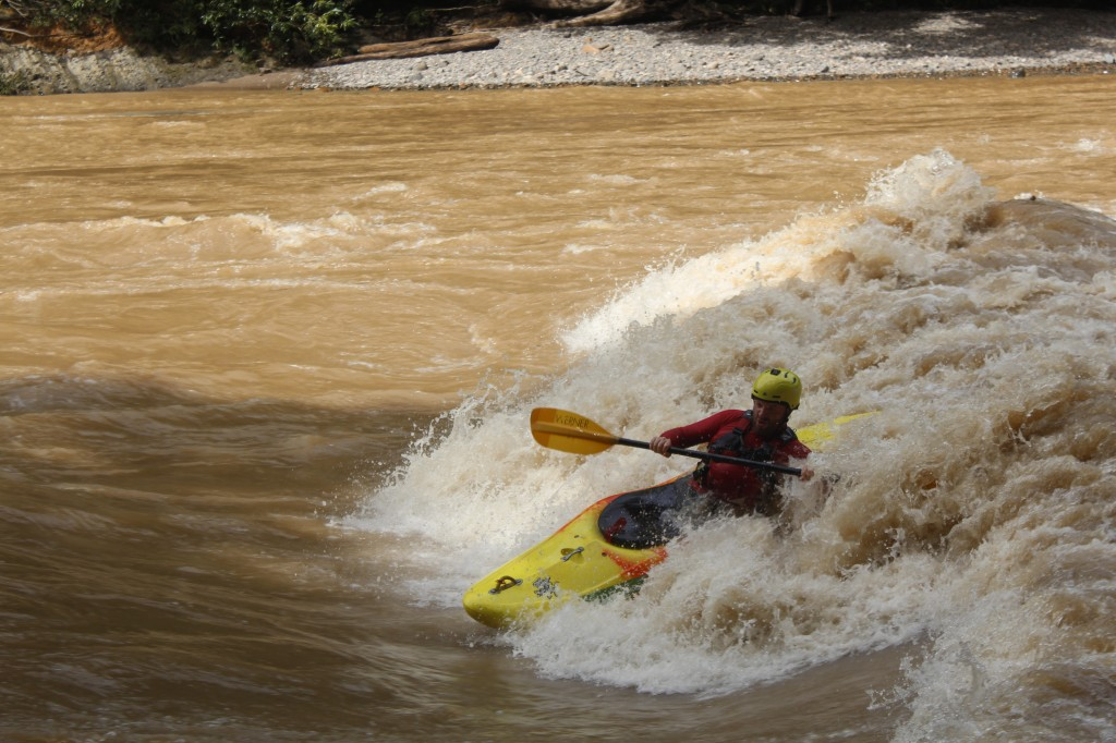 Patrick Clissold enjoying one of the many waves found during high water in the picturesque Sungai Tutoh gorge,