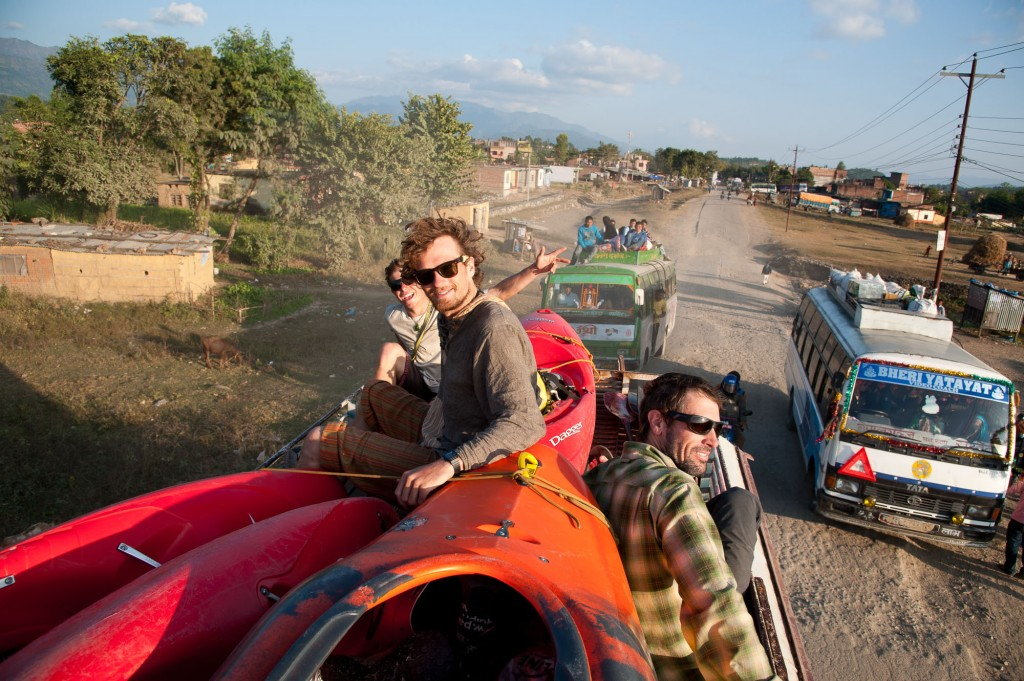 Riding the roof of the bus, Nepal