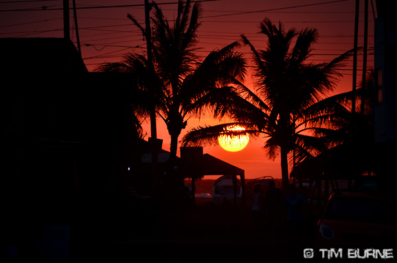 Sunset at Canoa - a relaxed surfing village on the Pacific coast.