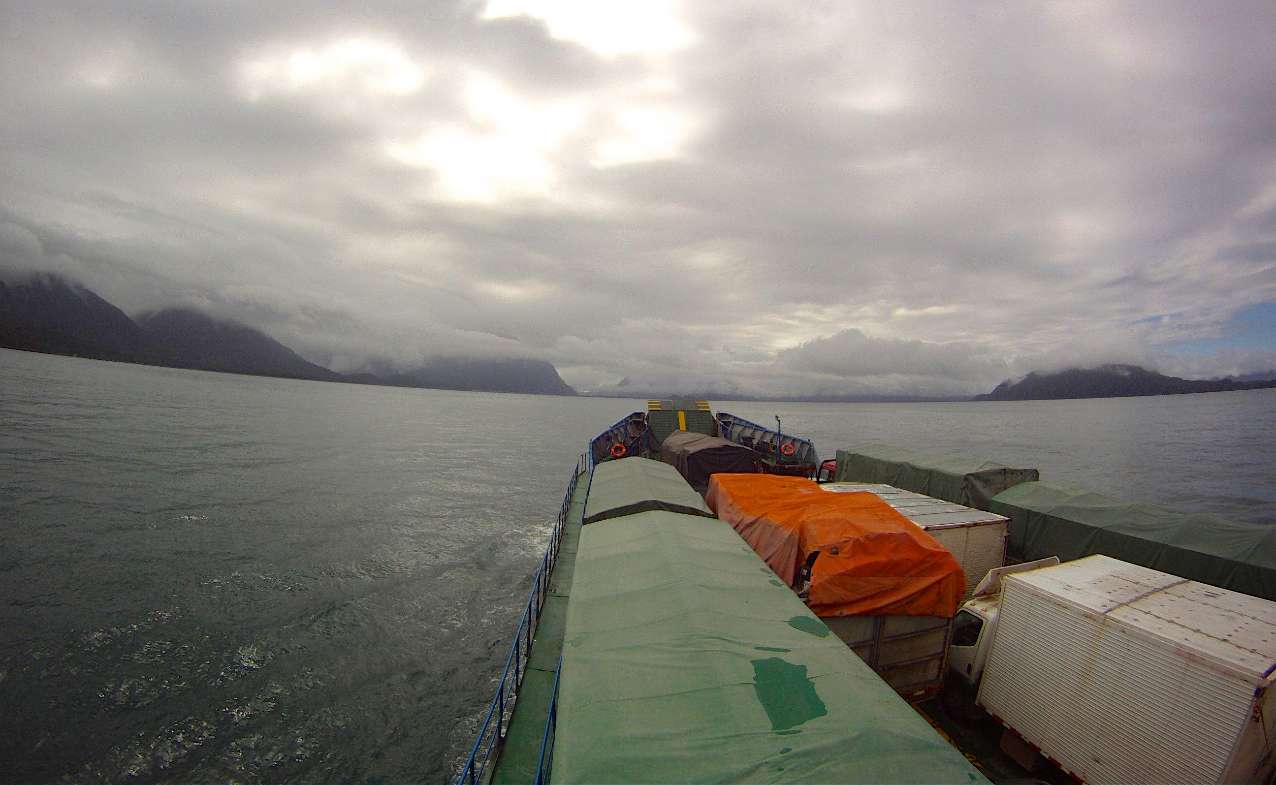 On the ferry approaching Chaiten, Patagonia