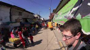 Dylan Evans walking through the Market in Tlapacoyan. Photo- Dylan McKInney