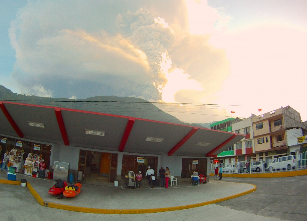There was a volcano going off when we arrived in Banos
