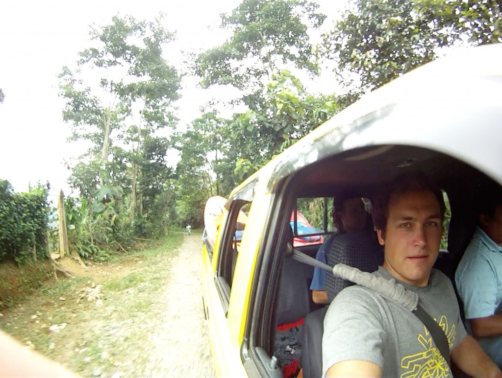 Typical shuttle ride in Ecuador on the way to the Rio Jondachi