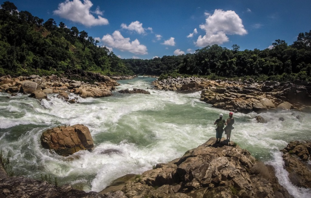 Scouting one of the first rapids on the Kopili