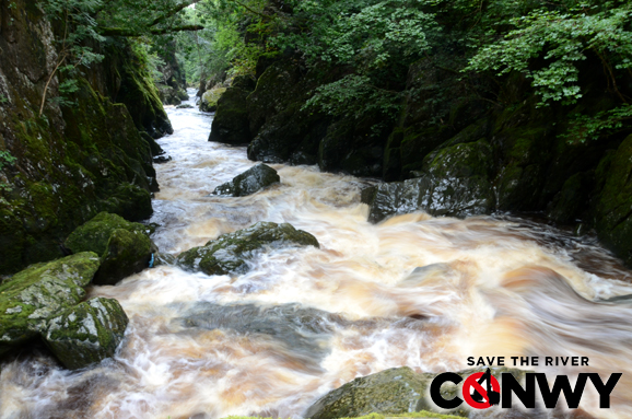 Pipeline Rapid, one of the rapids under threat by the Conwy Hydro scheme