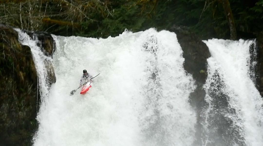 Jo Kemper roosting off Kalama Falls (Photo - Dave Fusilli)