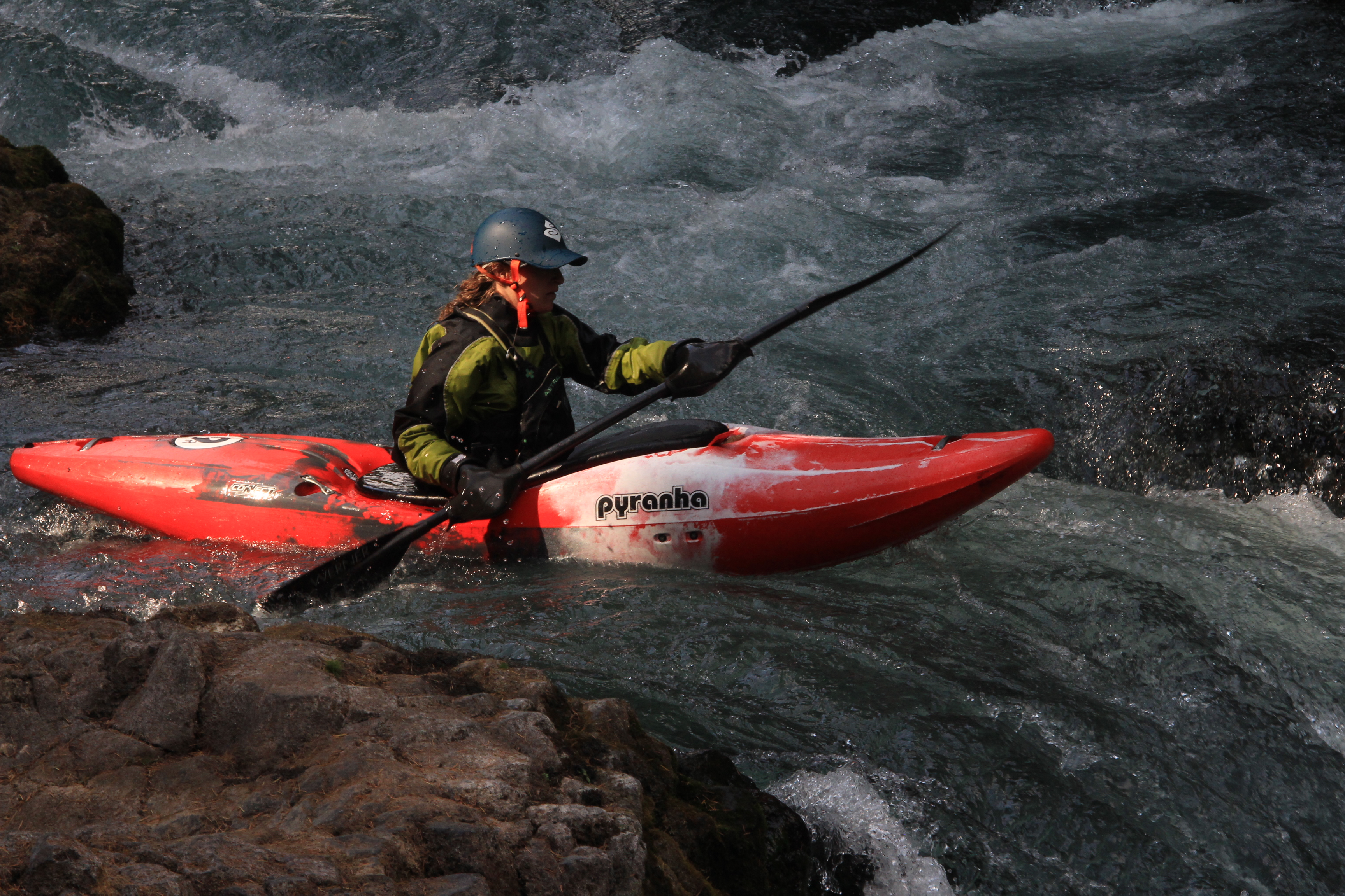 9R profile shot- Take a look at that bow rocker (Paddler - Jackie Selevan, Photo - Jeff Clewell)