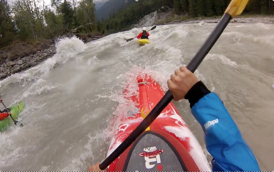 Chasing after Regan Byrd & her 9R on the deep and wavy Elaho