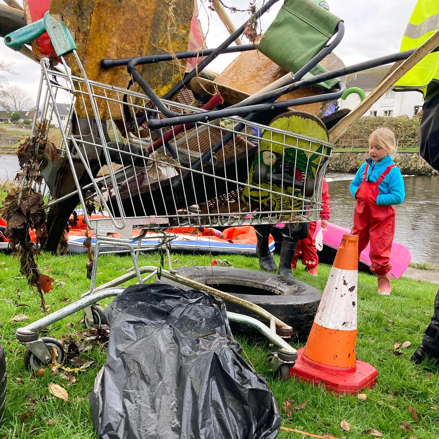 Just some of the rubbish removed from the River Kent, including a shopping trolley, a tyre, and a traffic cone.