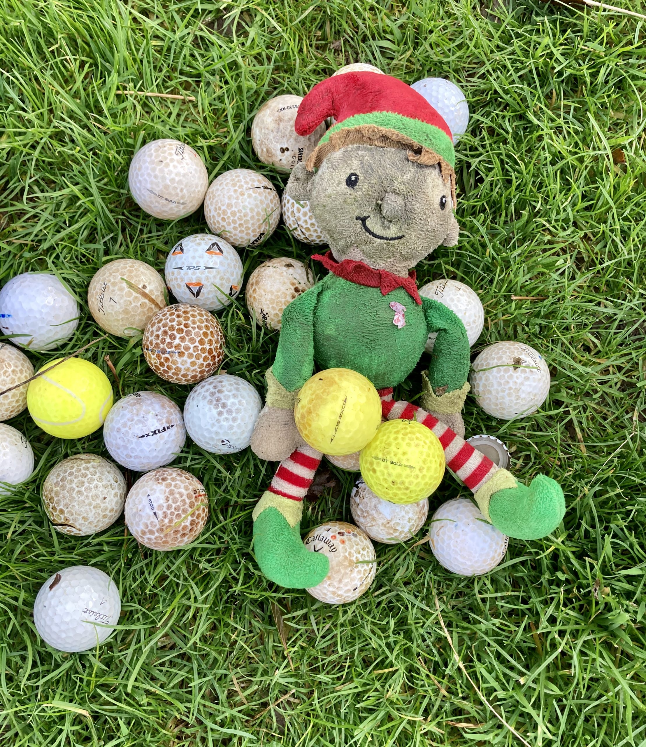 Just some of the 51 golf balls removed from the river... and an Elf!
